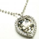 "1.5"" Stunning Clear Crystal Heart Pendant Necklace NP55"