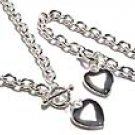 Silver Heart Heavy Chain Toggle Necklace and Bracelet Set NP67