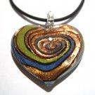 Murano Glass Blue Green Copper Heart Pendant Necklace NP121
