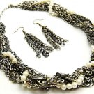 Chunky Multistrand Chains Pearl CZ Necklace Set NP920