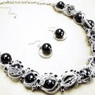Chunky Silver Chains Black CZ Metal Balls Necklace Earrings Set NP935