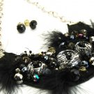 Unique Fur Glass Beads Bib Style Fabric Necklace NP936