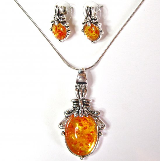 Amber Glass Rhodium Pendant Necklace and Earrings Set NP 128