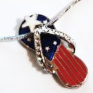 CZ Patriotic US Flag Flip Flop  Sandal Rhodium Pendant Necklace Charm NP160