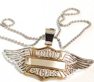 "3"" Bikers Motorcycle Wings Motorcycles Stainless Steel Chain Pendant NP163"