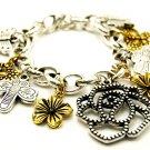 Chunky 2 Tone Rose Flower Butterfly Charm Bracelet BR73
