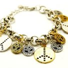 Two Tone Peace Sign Charm Bracelet BR74