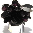 Trendy BLACK Dazzling Sequin Beads Cha Cha Ring OS39