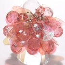 Trendy PINK Dazzling Sequin Beads Cha Cha Ring OS39