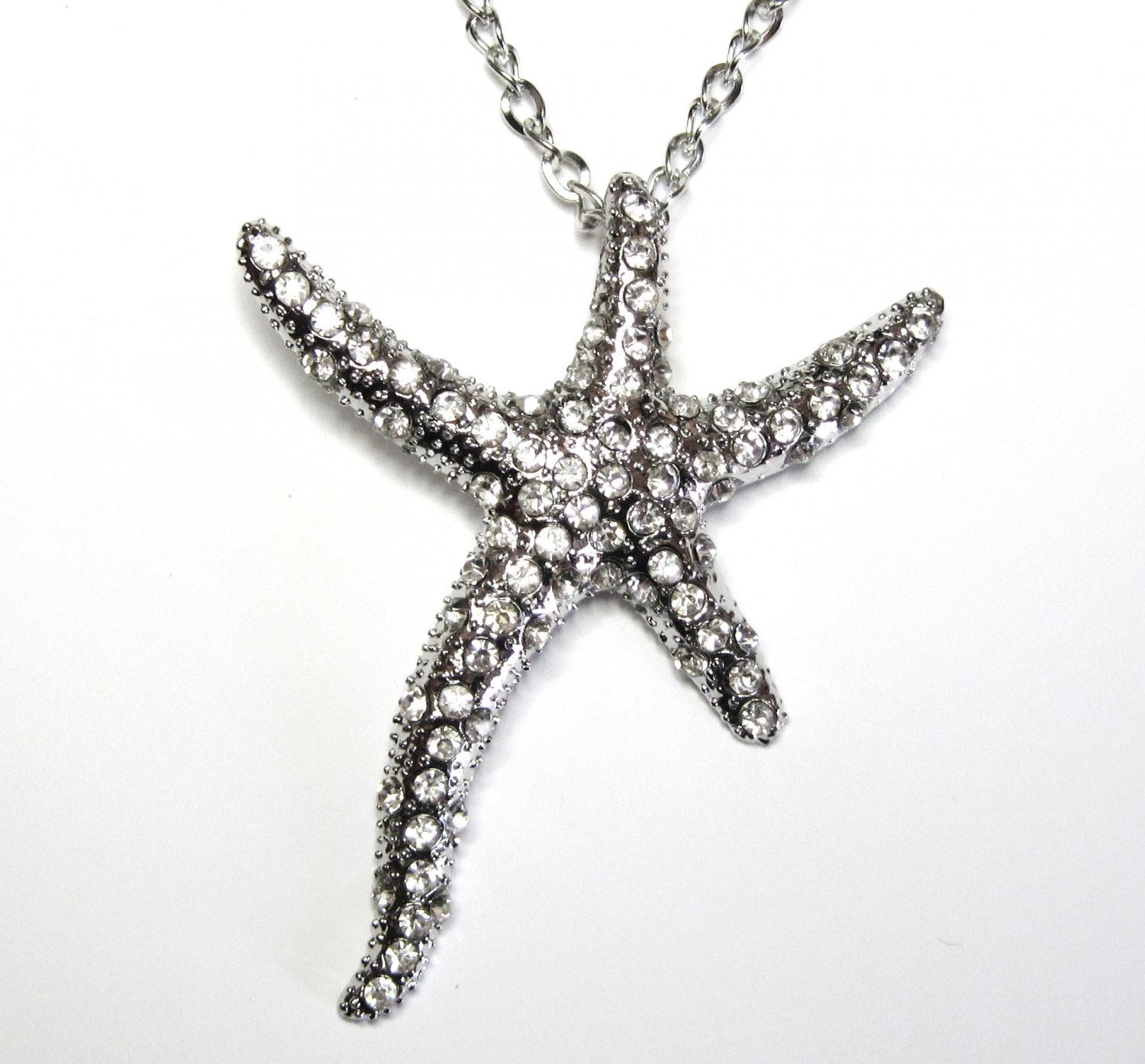 "3"" CZ Pave Starfish Chunky Necklace Sweater Pendant NP56"