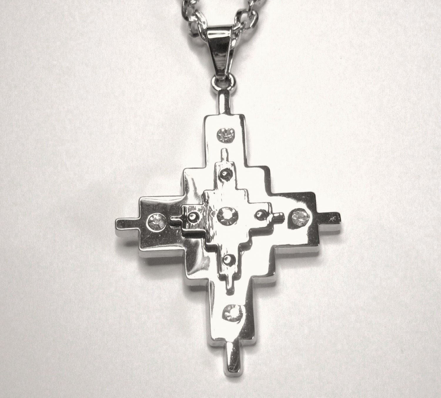 CZ Double Layer Stainless Steel Cross Pendant NP49