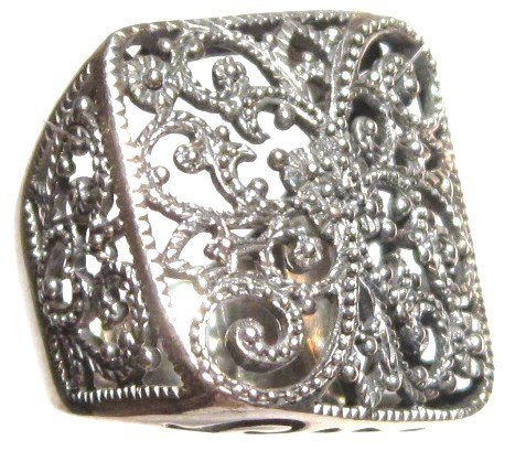 Stunning Wavy Square Filigree 925 Sterling Silver Fashion Ring WR107 Sz 6.5