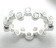 925 Sterling Silver Clear CZ Bubble Eternity Ring WR111 sz 6, 7