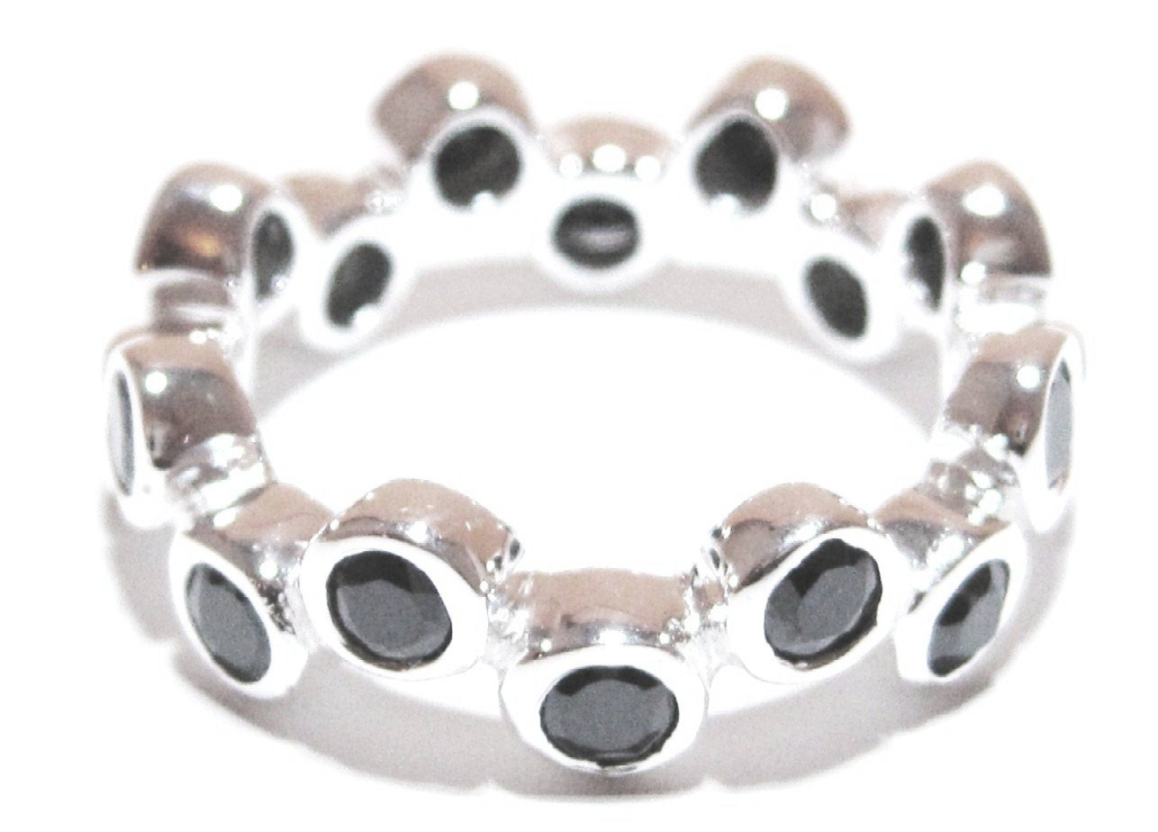 925 Sterling Silver Black CZ Bubble Eternity Ring WR112 Sz 6