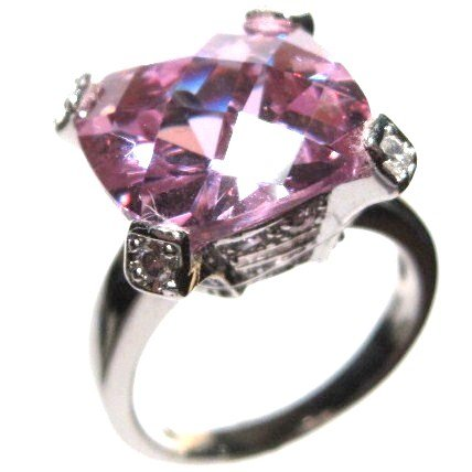 Exquisite 13mm Sparkling Pink CZ 925 Sterling Silver Ring WR115 Sz 6, 6.5, 8