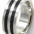 8mm Black Carbon Fiber High Polish Stainless Steel Ring SSR02 Sz 8, 9, 11