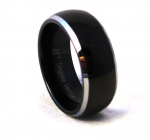 8mm Unisex Dome Shaped Black Tungsten Carbide Wedding Ring TU6004