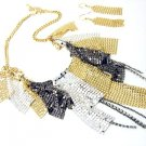 Mesh CZ Chains Cascade Drop Chunky Necklace Set NP06