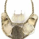 Chunky Chains Filigree Disc Antique Gold Necklace Earring Set NP1001