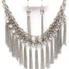 CZ Chains Silver Cascade Drop Necklace Earring Set NP1008