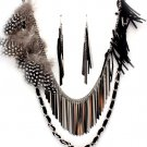 Stunning 30 Inch Multistrand Feather Suede Metal Bands Necklace Earring Set NP1015
