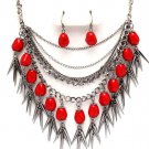 Chunky Multistrand Red Natural Stone Chains Spike Necklace Earrings NP1016