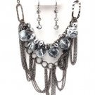 Antique Silver Animal Print Ball Beads Chains Necklace Earrings NP1021