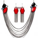 Multi Strand Chain Red Black Epoxy Stone Cascading Necklace Earrings NP1025