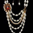 Chunky Multi Strand Faux Pearl Crystal Stone Cascade Drop Necklace Earrings NP1026