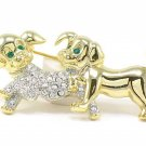 "2"" Adorable Crystal Pave Puppy Dog Puppies Brooch Pin BP69"