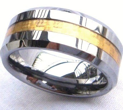 8mm Gold Carbon Fiber Tungsten Carbide Ring, TU3115  Sz 9, 10