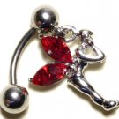 RED Austrian Crystal Reverse Fairy Dangle Stainless Steel Belly Ring BJ17