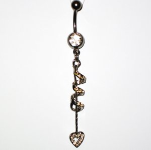 Clear Austrian Crystal Spiral Heart Dangle Stainless Steel Belly Ring BJ45