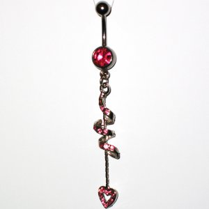 Pink Austrian Crystal Spiral Heart Dangle Stainless Steel Belly Ring BJ45