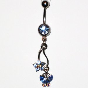 Blue Austrian Crystal Butterfly Flower Dangle Stainless Steel Belly Ring BJ42