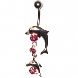 Pink Sparkling Crystal Dolphin Dangle Belly Ring BJ06