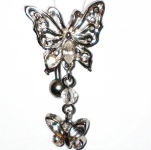 Clear Austrian Crystal Reverse Butterfly Dangle Belly Ring BJ15