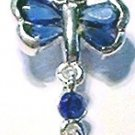 Dragonfly BLUE Crystal Dangle Belly Navel Ring BJ35