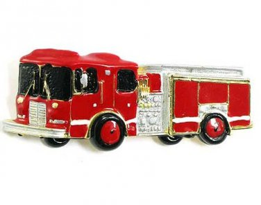 Unique Firefighter Fire Engine Truck Red Enamel Brooch Pin BP04