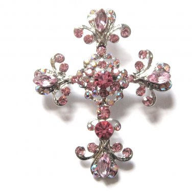 Stunning Pink and Clear Austrian Crystal Cross Religious Brooch Pin BP09