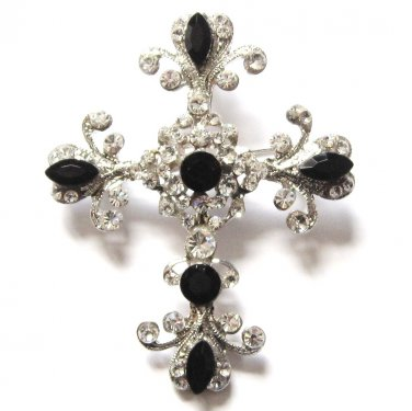 Stunning Black and Clear Crystal Cross Religious Brooch Pin BP10