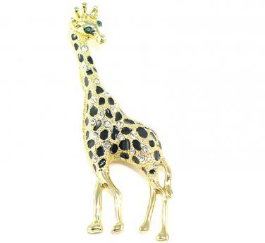 Unique Clear Crystal Gold EP Black Enamel Giraffe Brooch Pin BP12