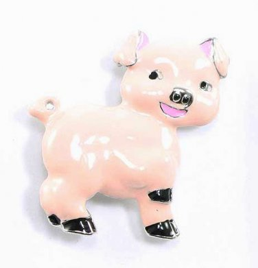 Adorable Pink Enamel Pig Brooch Pin Broach BP20