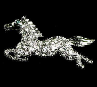 Clear Crystal Pave Rhodium Silver Horse Brooch BP29