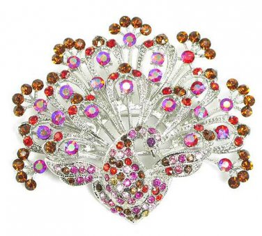 Stunning Pink Red Amber Crystal Paved Rhodium Peacock Brooch Pin BP32