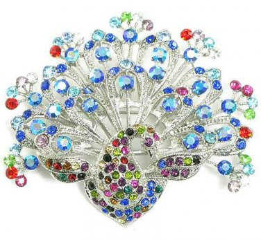 Stunning Colorful Crystal Rhodium Peacock Brooch Pin BP34