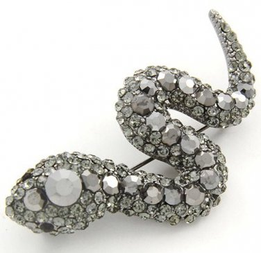 2.5 Inch Stunning Antique Silver Crystal Paved Snake Brooch Pin Broach BP33