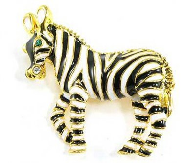 Adorable Gold Black Enamel Zebra Brooch BP51