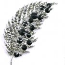 Stunning 4 Inch Silver Black Crystal Paved Leaf Brooch BP53