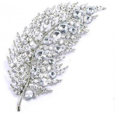 4 Inch Clear Crystal Rhodium Finish Leaf Brooch BP56
